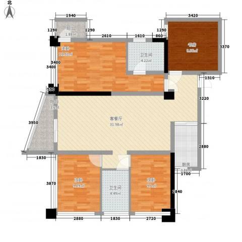 达人联盟4室1厅2卫1厨130.00㎡户型图