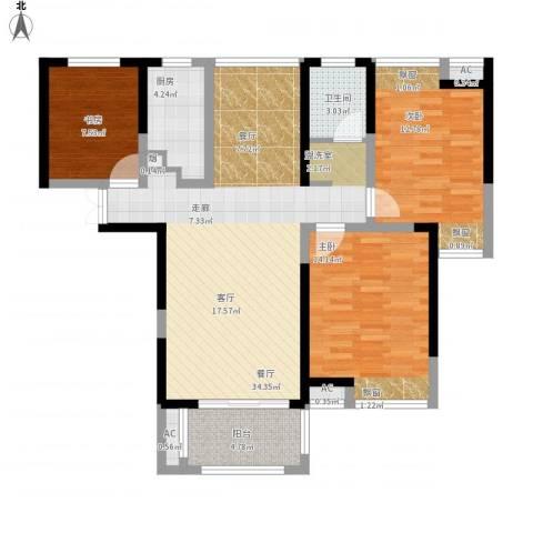 联发君悦湖3室1厅1卫1厨120.00㎡户型图