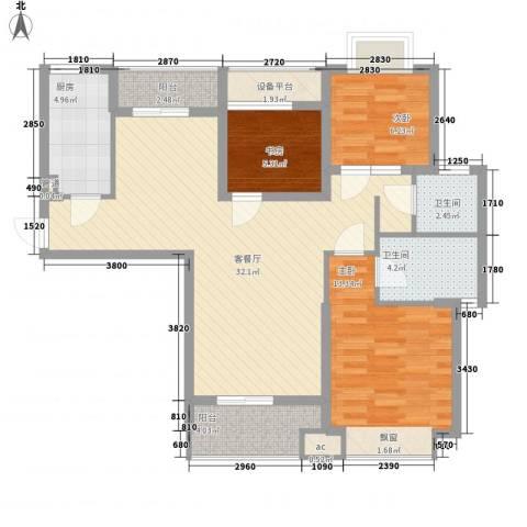 听涛观海龙台3室1厅2卫1厨108.00㎡户型图