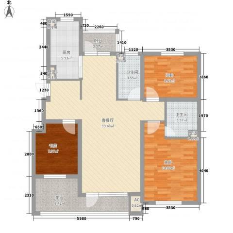 九洲湾景汇3室1厅2卫1厨128.00㎡户型图