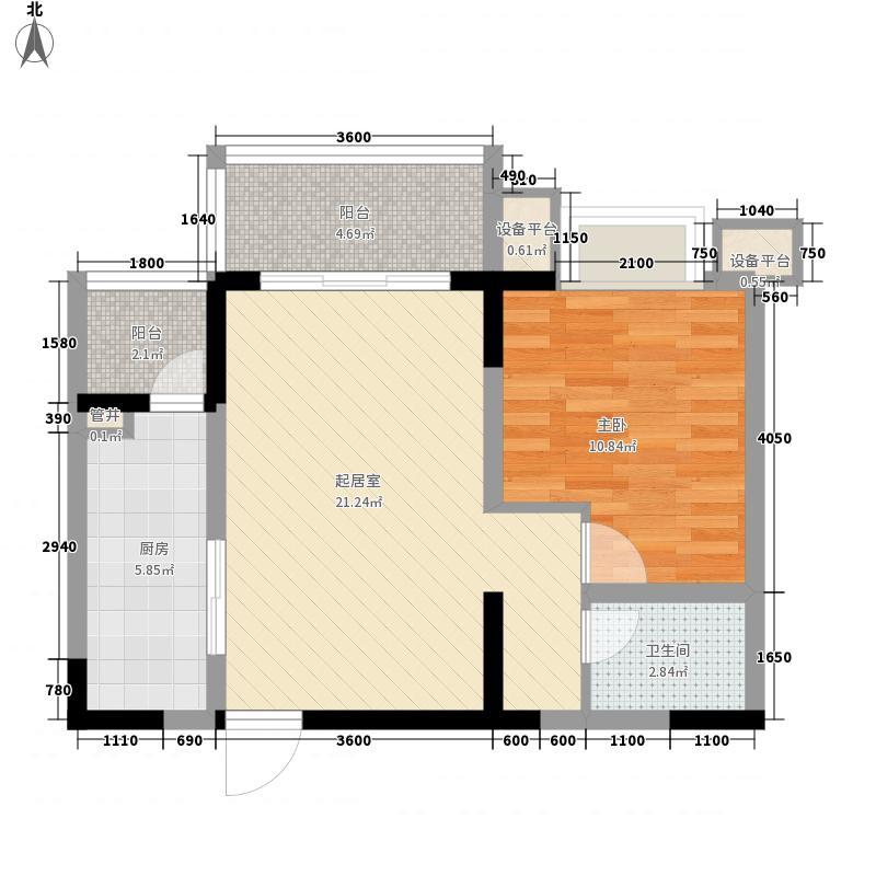 优点社区64.16㎡10号楼B4-3户型1室1厅1卫1厨