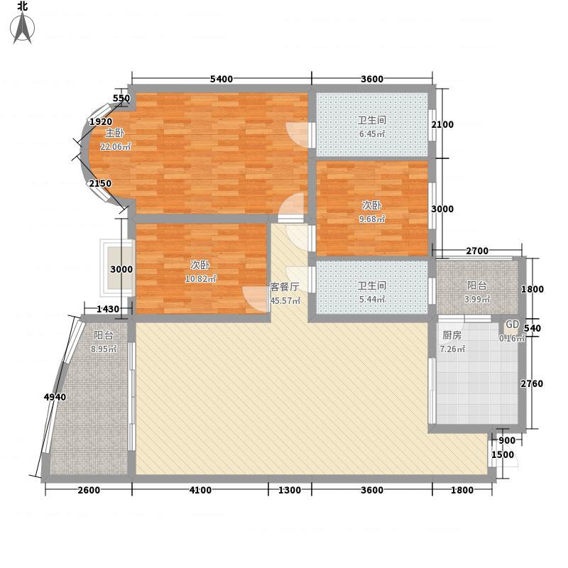 七星新城14.58㎡3#6#A3户型3室2厅2卫1厨