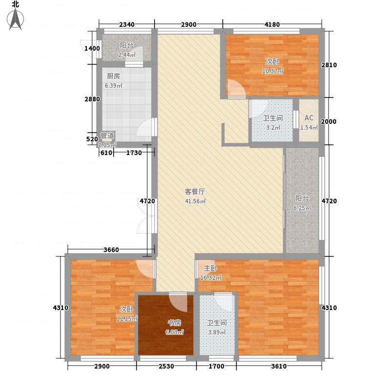 星河国际花园157.00㎡1#楼C2户型4室2厅2卫1厨