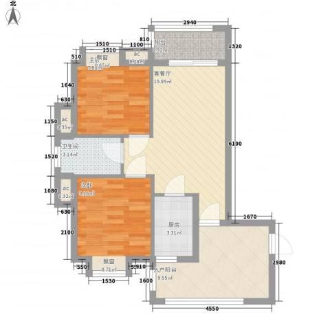 美林湖国际社区2室1厅1卫1厨77.00㎡户型图