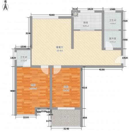 金湖湾墅园2室1厅2卫1厨112.00㎡户型图