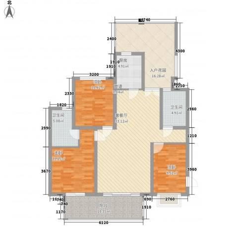 南艳滨湖时光3室1厅2卫1厨120.00㎡户型图