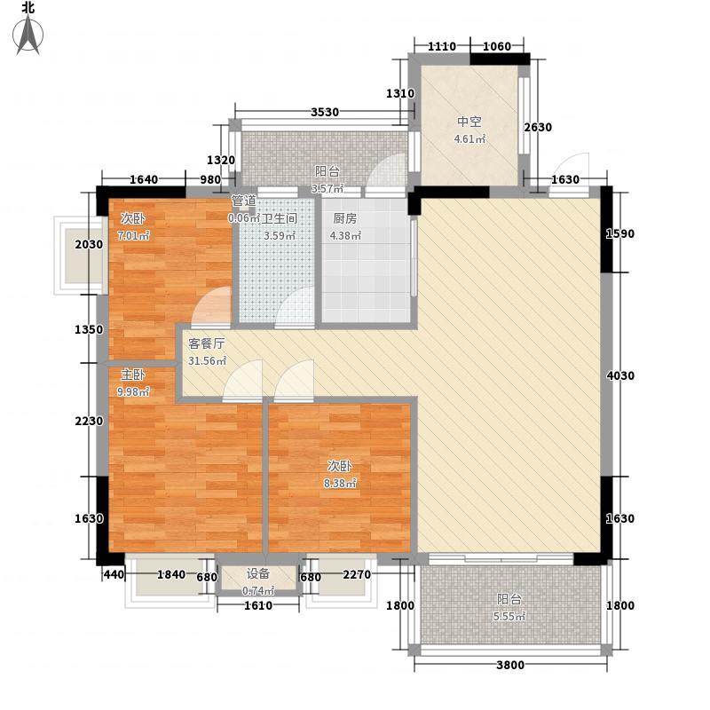 粤宇・碧水湾86.62㎡二期9栋2-11层标准层04户型3室2厅1卫1厨