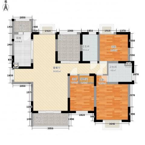 健逸天地3室1厅2卫1厨140.00㎡户型图