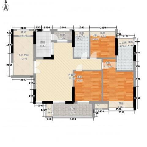 丰泰旗山绿洲3室1厅2卫1厨100.00㎡户型图