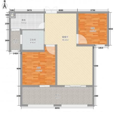 三江锦绣江南2室1厅1卫1厨145.00㎡户型图