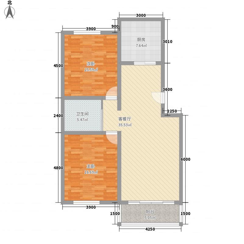 宏达世纪花苑18.00㎡户型2室2厅1卫1厨