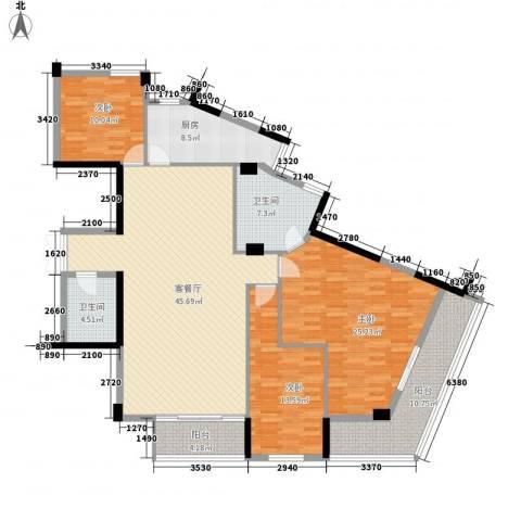 武夷天琴湾3室1厅2卫1厨166.00㎡户型图