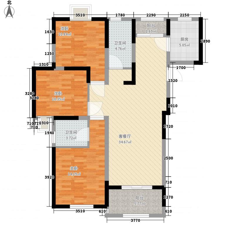 金都花园131.60㎡高层户型一户型3室2厅2卫