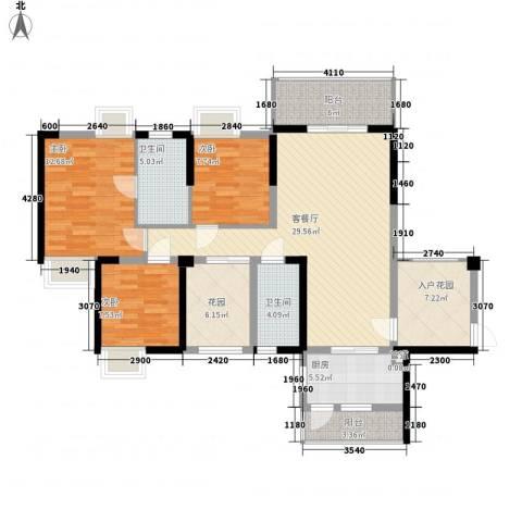 健逸天地3室1厅2卫1厨138.00㎡户型图
