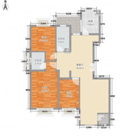 紫薇臻品3室1厅2卫1厨135.00㎡户型图
