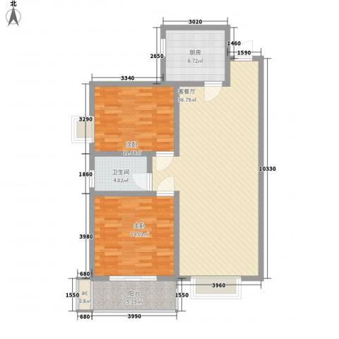 城西印象2室1厅1卫1厨101.00㎡户型图