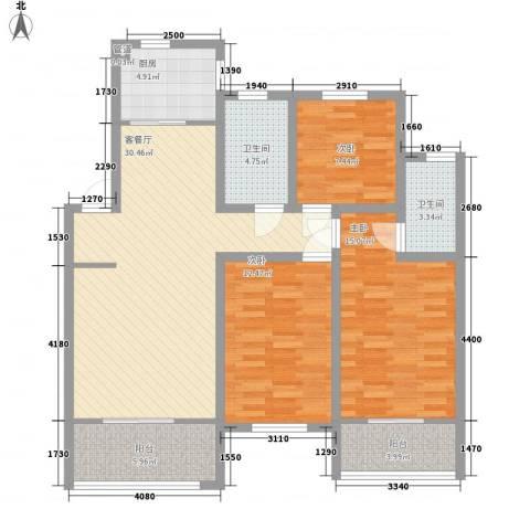 天一家园3室1厅2卫1厨128.00㎡户型图