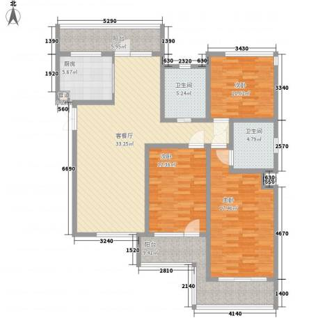 晏园凤凰汇3室1厅2卫1厨150.00㎡户型图