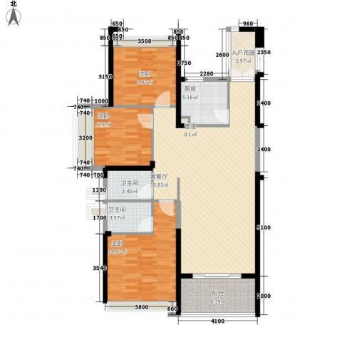 阳光圣菲3室1厅2卫1厨93.81㎡户型图
