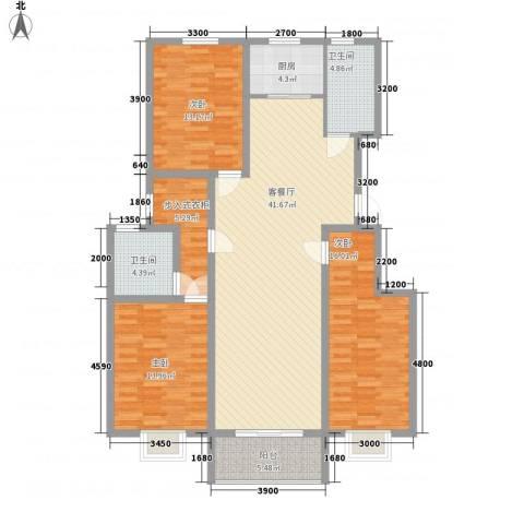 中和盛景3室1厅2卫1厨155.00㎡户型图