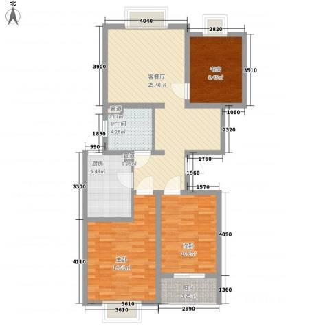 枫林湾3室1厅1卫1厨106.00㎡户型图