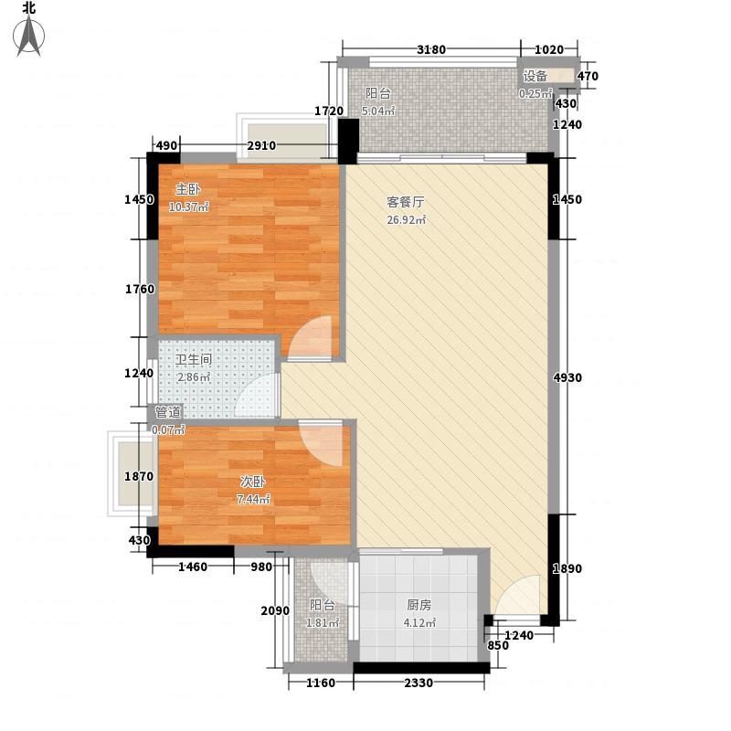 奥米茄花园82.00㎡海德郡6栋2-14层01单元户型2室2厅1卫