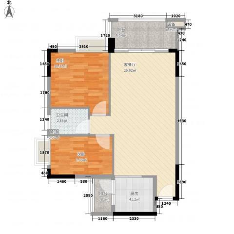 奥米茄花园2室1厅1卫1厨82.00㎡户型图