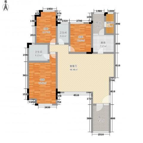万科城市高尔夫花园3室1厅2卫1厨140.00㎡户型图