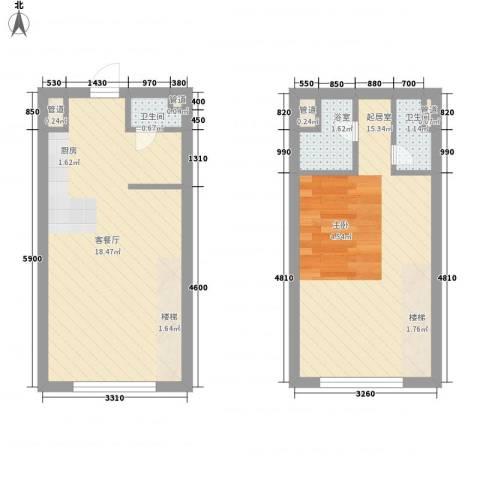 锦华银座1厅2卫0厨44.00㎡户型图