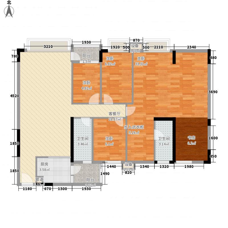 蓝色海岸132.00㎡B座二-二十六层02户型4室2厅2卫