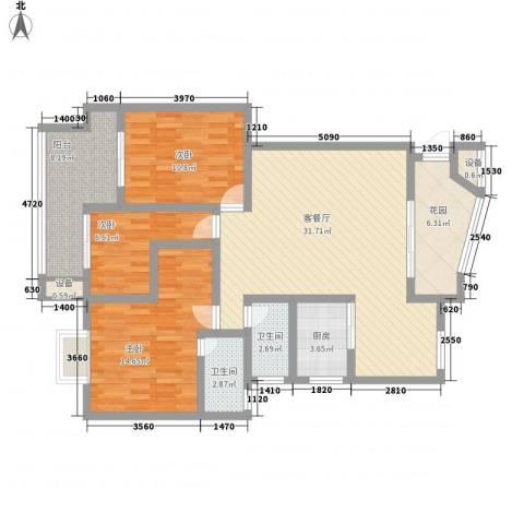 冠嘉冠城3室1厅2卫1厨129.00㎡户型图