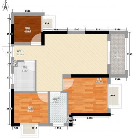 兰亭�岛3室1厅1卫1厨73.00㎡户型图