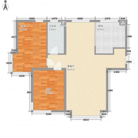星竹花园2室1厅1卫1厨109.00㎡户型图