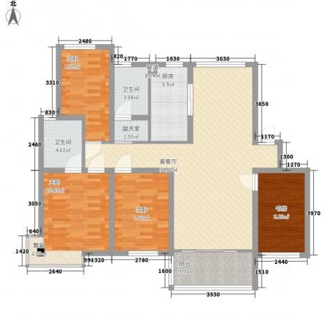 天一家园4室1厅2卫1厨135.00㎡户型图