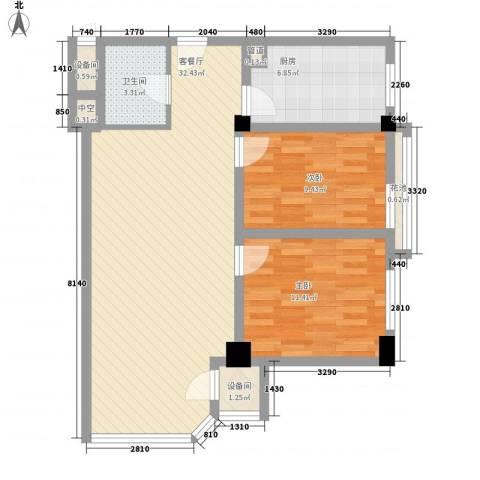 远能锦座2室1厅1卫1厨93.00㎡户型图