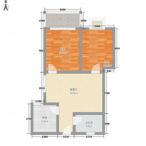 晟方佳苑2室1厅1卫1厨77.00㎡户型图