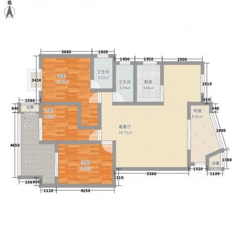 冠嘉冠城3室1厅2卫1厨138.00㎡户型图