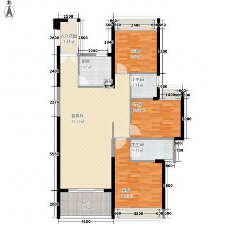 阳光圣菲3室1厅2卫1厨96.43㎡户型图
