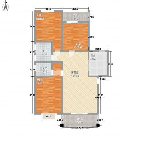 一品江南3室1厅2卫1厨152.00㎡户型图
