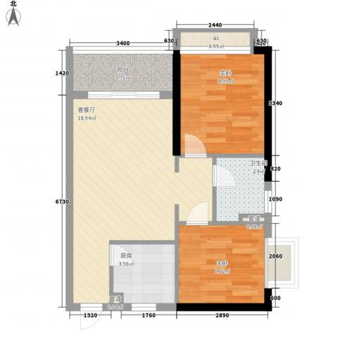兰亭�岛2室1厅1卫1厨66.00㎡户型图