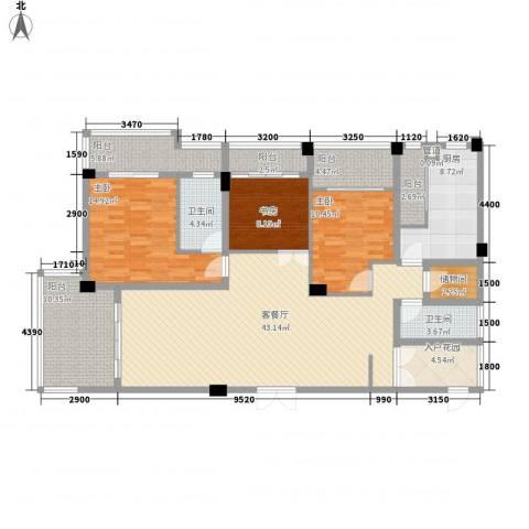 大�海・半山壹�3室1厅2卫1厨163.00㎡户型图