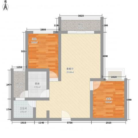 江南名苑2室1厅1卫1厨80.00㎡户型图