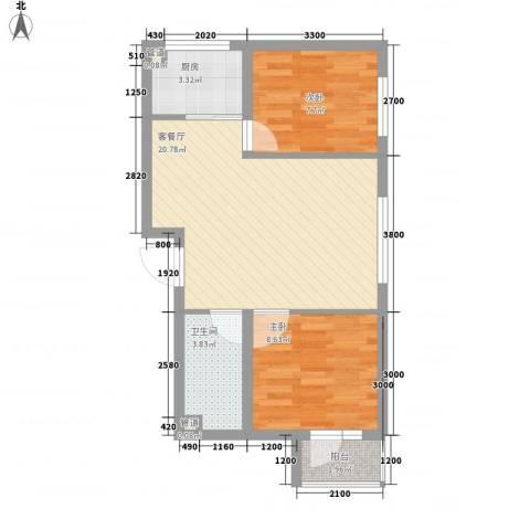 山河秀景二期2室1厅1卫1厨70.00㎡户型图