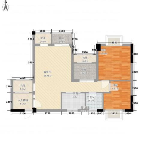 招商假日3652室1厅1卫1厨64.16㎡户型图