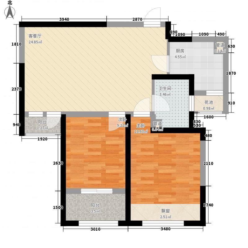 天居锦河丹堤B1户型2室2厅1卫1厨