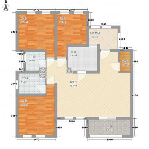 加州洋房3室1厅2卫1厨126.00㎡户型图