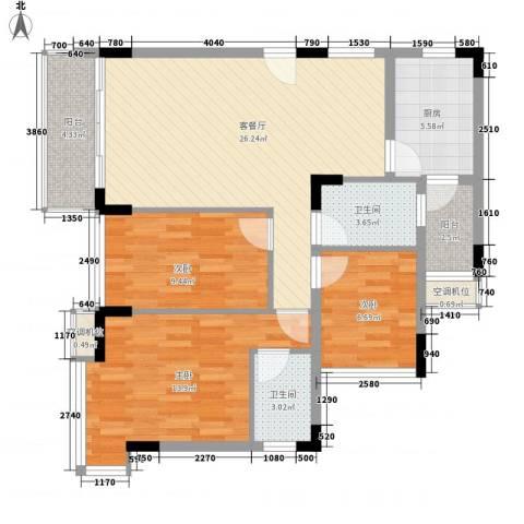 金地格林小城3室1厅2卫1厨110.00㎡户型图