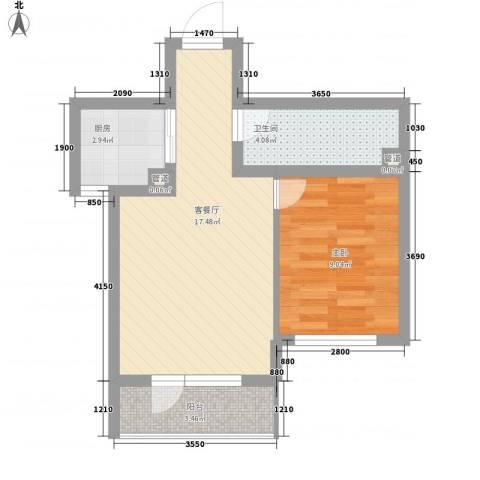 山河秀景二期1室1厅1卫1厨59.00㎡户型图