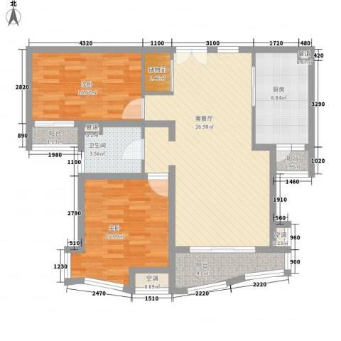 金沙丽晶苑2室1厅1卫1厨101.00㎡户型图
