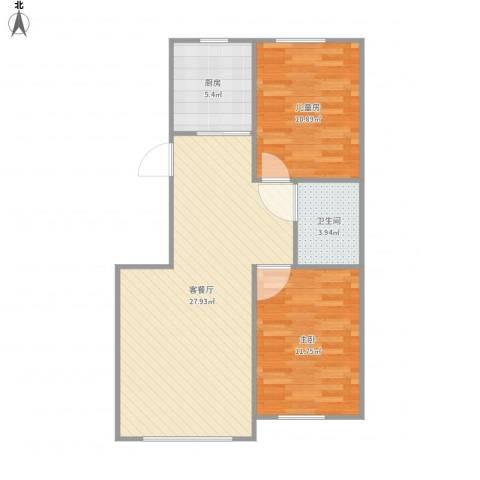 硅谷印象2室1厅1卫1厨80.00㎡户型图